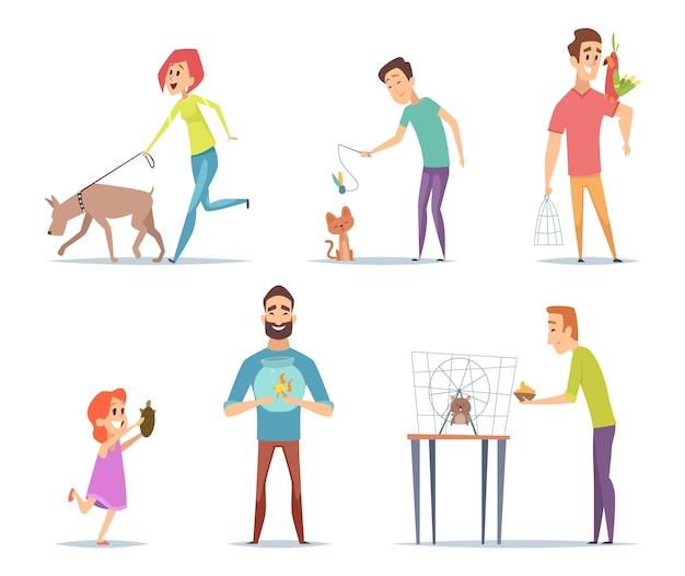 Animales domesticos. propietarios con sus mascotas gato perro loro personajes felices con colección de animales en estilo de dibujos animados
