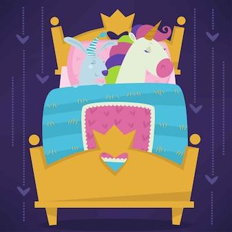 Animales durmiendo en la cama cuento de hadas mascotas dormidas set vector.