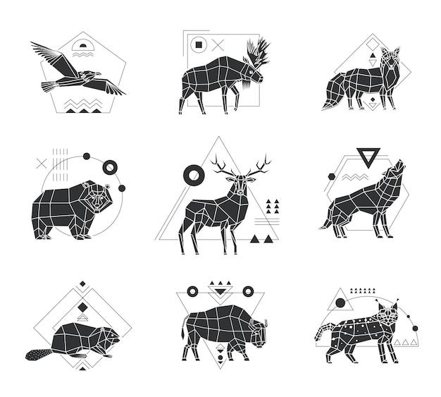 Animales emblemas poligonales monocromos