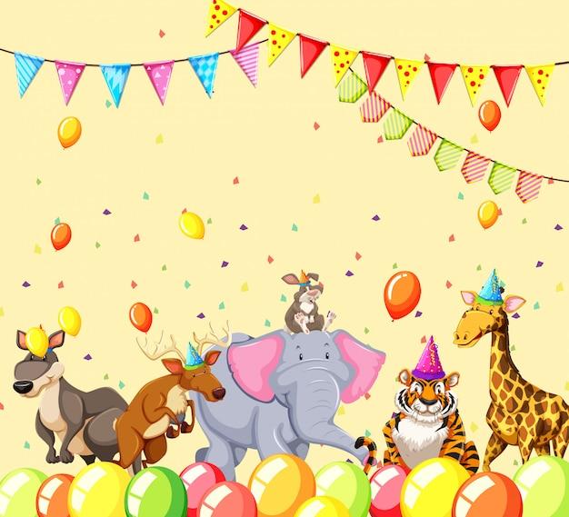 Animales en escena de fiesta