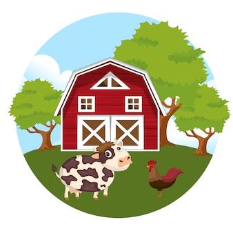 Animales en la escena de la granja.