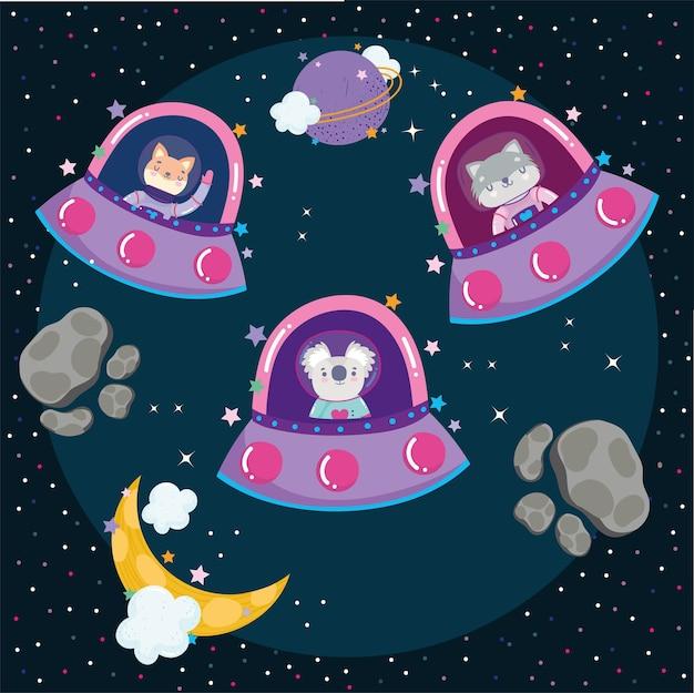 Animales espaciales en naves espaciales luna estrellas galaxia aventura explorar ilustración de dibujos animados