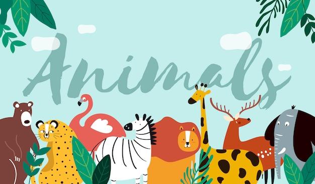 Animales en un estilo de dibujos animados.
