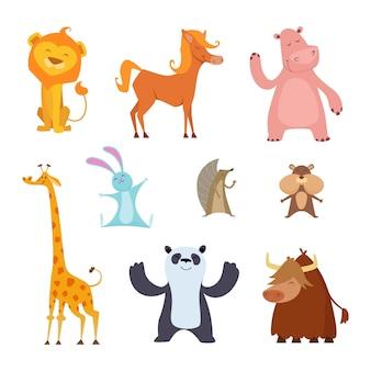 Animales exóticos en estilo de dibujos animados.