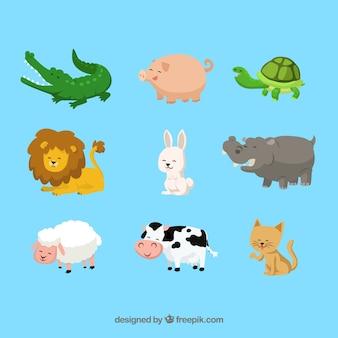 Animales felices de dibujos animados