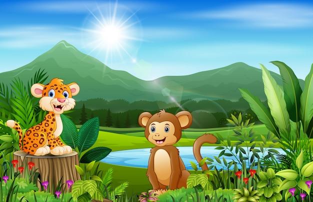 Animales felices y hermosos paisajes naturales con montañas.