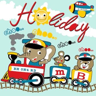 Animales felices vacaciones con locomotora