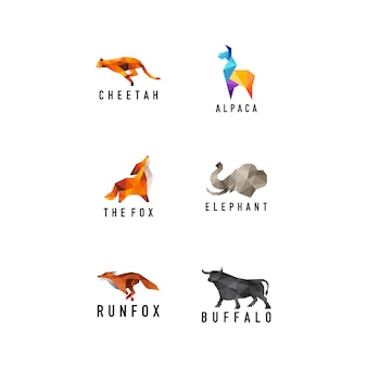 Animales geométricos set logo
