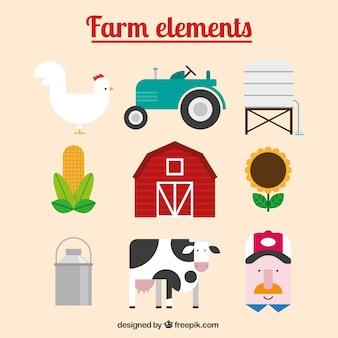 Animales de granja y accesorios en diseño plano