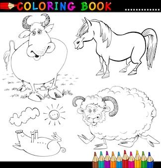 Animales de granja para colorear libro o página