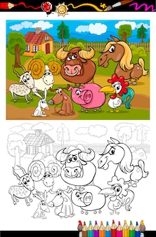 Animales de granja de dibujos animados para colorear libro