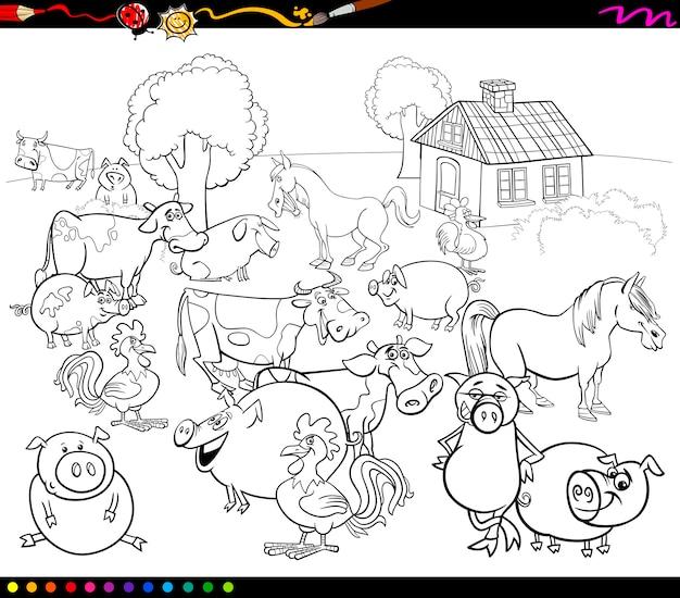 Animales De Granja De Dibujos Animados Para Colorear Vector Premium