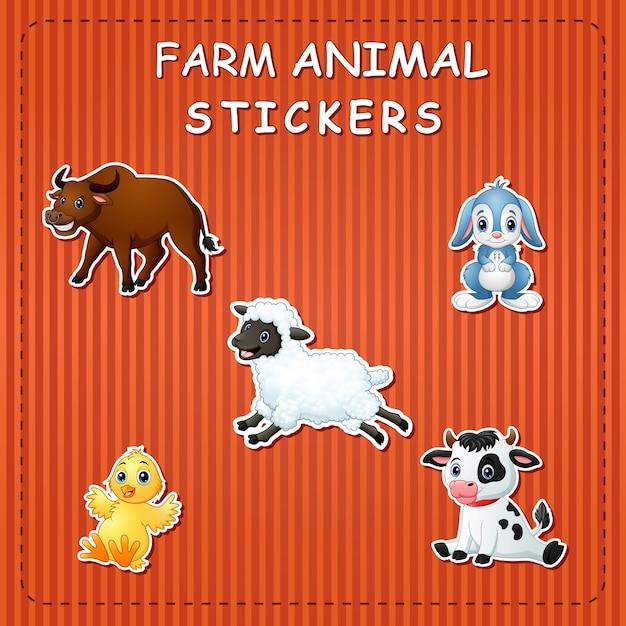 Animales de granja de dibujos animados lindo en etiqueta