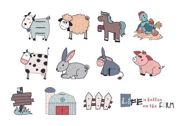 Los animales de granja establecen ovejas cabra vaca burro caballo cerdo pollo gallina gallo conejo valla ilustración plana