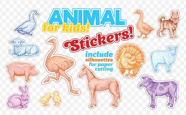 Animales de granja en estilo boceto en pegatinas de colores. aislado en transparente
