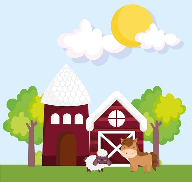 Animales de granja granero casa caballo y cabra árboles hierba cartoon