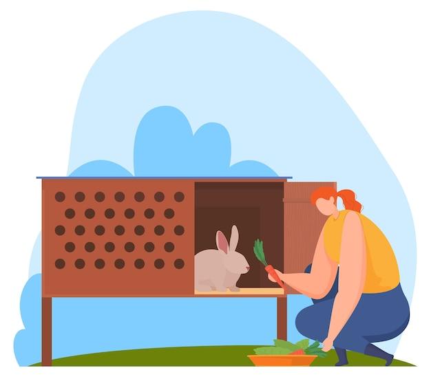 Animales de granja, granjero. alimentando conejos.