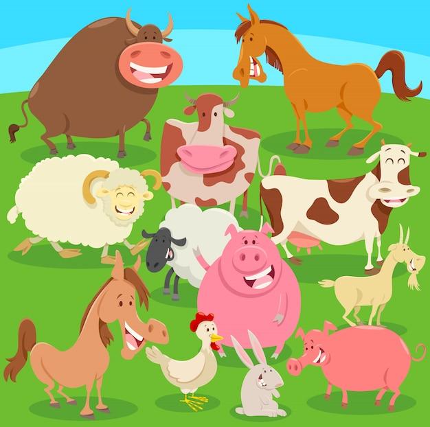 Animales de granja en la ilustración de dibujos animados de prado