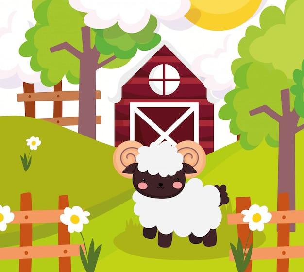 Animales de granja lindo cabra granero vallas de madera flores árbol