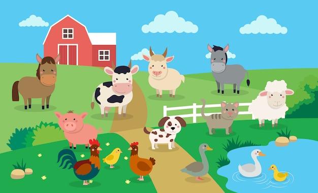 Animales de granja con paisaje