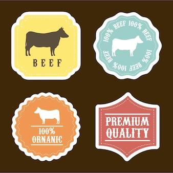 Animales de granja sobre fondo marrón ilustración vectorial