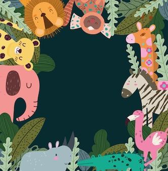 Animales en el hábitat de la jungla.
