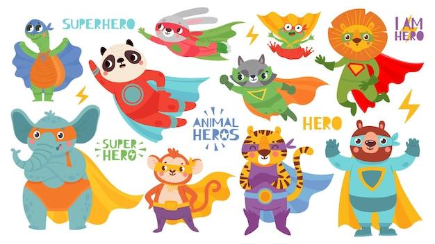 Animales de héroe con disfraces.