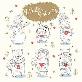 Animales de invierno, niño y niña dibujados a mano.