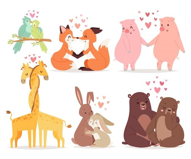 Los animales se juntan en el ejemplo del vector del día de fiesta del día de tarjetas del día de san valentín del amor.