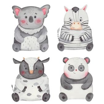 Animales koala, vaca, cebra, panda, acuarela, ilustración