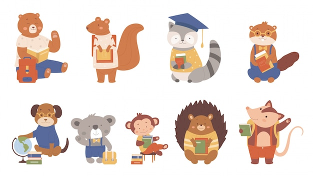 Los animales leen la ilustración de libros. colección de personajes inteligentes amantes de los libros de dibujos animados con zoológicos o estudiantes de mascotas o alumnos que leen y estudian en la escuela, escolarización en blanco