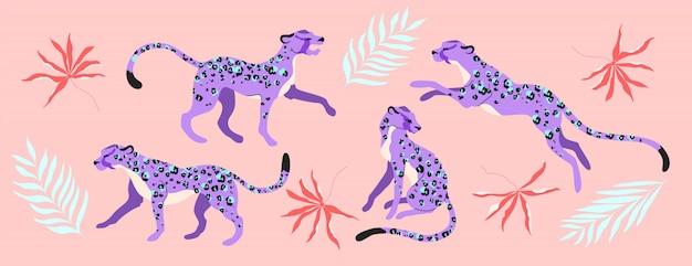 Animales de leopardo morado y ramas tropicales.