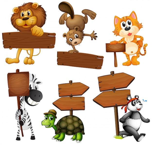 Animales con letreros