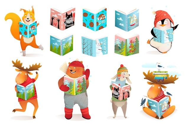 Animales leyendo libros, oso, pingüino alce y ardilla, niños estudian y colección de dibujos animados escolares.
