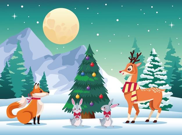 Animales lindos alrededor del árbol de navidad en la ilustración del paisaje nevado