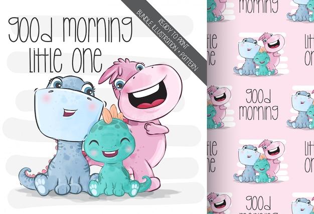 Animales lindos bebé familia dino con patrones sin fisuras