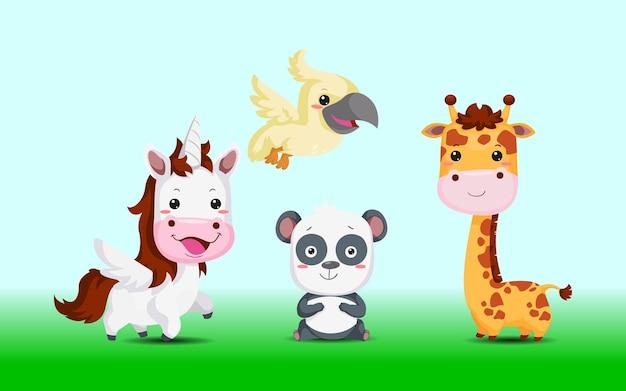 Animales lindos, caballo unicornio, panda, pájaro, jirafa de la ilustración del zoológico