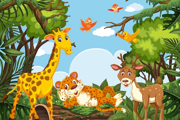 Animales lindos en escena de la selva