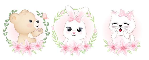 Animales lindos y flora marco ilustración acuarela animal de dibujos animados