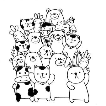 Animales lindos: gato, oso, vaca, conejo, abeja y zanahoria, en estilo kawaii.