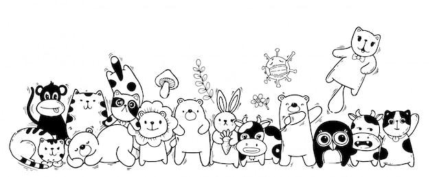 Animales lindos: gato, oso, vaca, conejo, mono, búho y zanahoria, setas, flores en estilo kawaii.