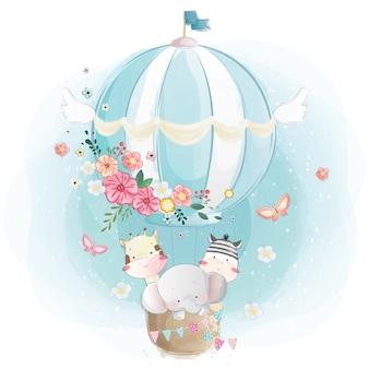 Animales lindos en el globo de aire