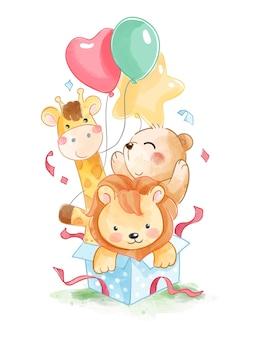 Animales lindos y globos de colores en la ilustración de la caja de regalo