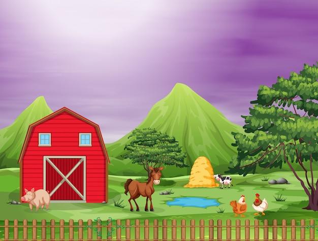 Animales lindos en una granja