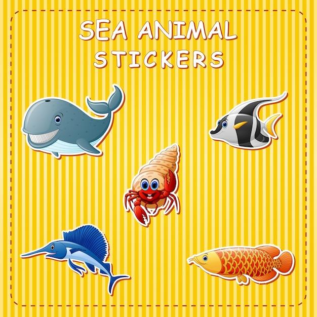 Animales lindos de la historieta de mar en la etiqueta