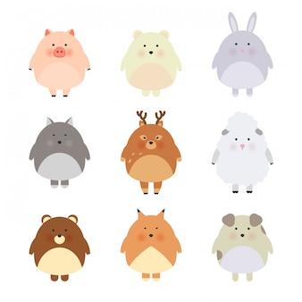 Animales lindos de la historieta para la tarjeta y la invitación del bebé