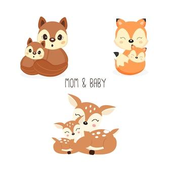Animales lindos de la madre y el bebé del bosque. zorros, ciervos, dibujos animados de ardillas.
