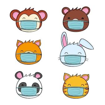 Animales lindos con máscaras faciales.
