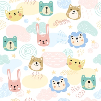Animales lindos patrón de fondo.