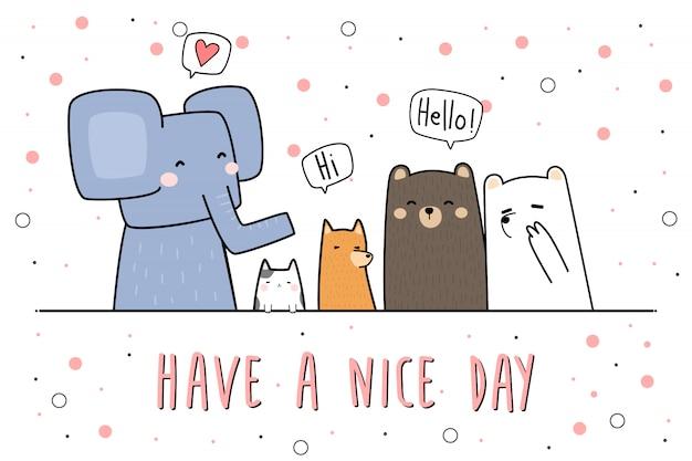 Animales lindos que saludan dibujos animados doodle banner fondo de pantalla